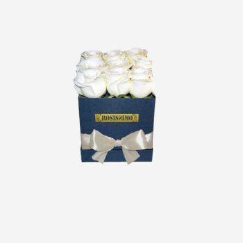 Fehér rózsadoboz – Kocka – Kicsi – Friss virágból