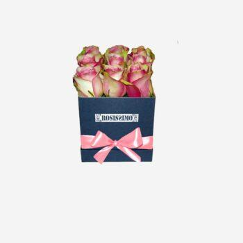 Rózsaszín-fehér rózsadoboz – Kocka – Kicsi – Friss virágból