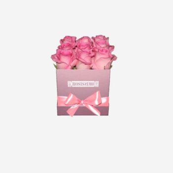 Rózsaszín rózsadoboz – Kocka – Kicsi – Friss virágból