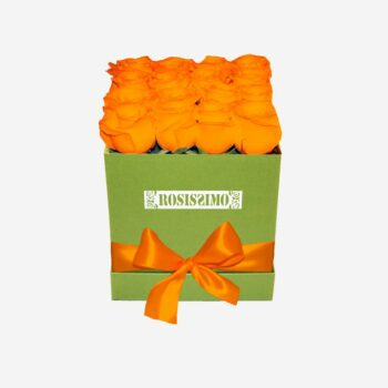 Narancs rózsadoboz – Kocka – Közepes – Friss virágból