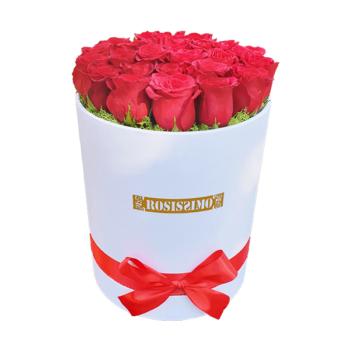 Vörös rózsadoboz – Kerek – Nagy – Friss virágból