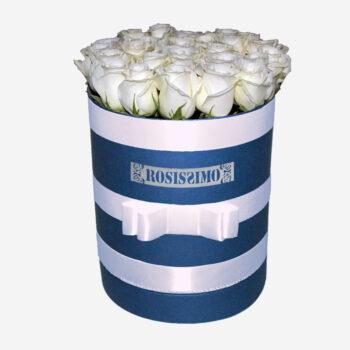 Fehér rózsadoboz – Kerek – Nagy – Friss virágból
