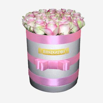 Rózsaszín fehér rózsadoboz – Kerek – Nagy – Friss virágból