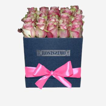 Rózsaszín-fehér rózsadoboz – Kocka – Nagy