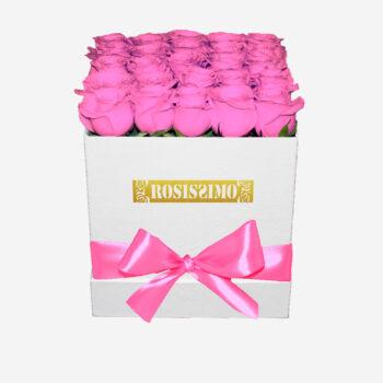 Rózsaszín rózsadoboz – Kocka – Nagy – Friss virágból