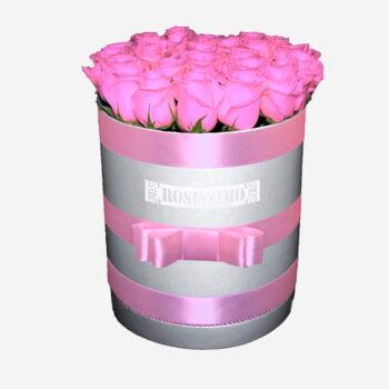 Rózsaszín rózsadoboz – Kerek – Nagy – Friss virágból