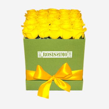Sárga rózsadoboz – Kocka – Nagy – Friss virágból