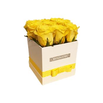 Sárga rózsadoboz – Kocka – Kicsi – Friss virágból