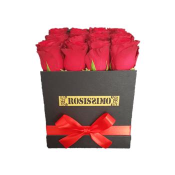 Vörös rózsadoboz – Kocka – Közepes