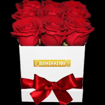Vörös rózsadoboz – Kocka – Kicsi